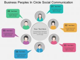 Busines Peoples In Circle Social Communication Flat Powerpoint Design