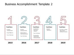 Business Accomplishment Template 2015 To 2019 Powerpoint Slides