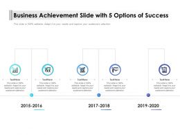 Business Achievement Slide With 5 Options Of Success