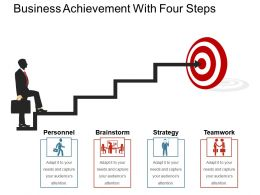 Business Achievement With Four Steps Powerpoint Show