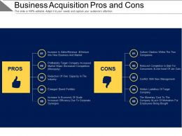 Business Acquisition Pros And Cons Ppt Examples Professional
