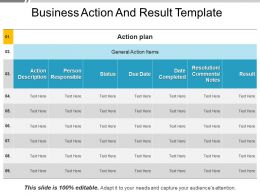 Business Action And Result Template PowerPoint Show