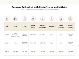 Business Action List With Route Status And Initiator