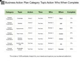 Business Action Plan Category Topic Action Who When Complete