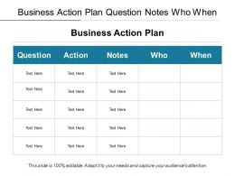 Business Action Plan Question Notes Who When