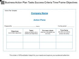 Business Action Plan Tasks Success Criteria Time Frame Objectives