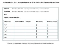 Business Action Plan Timelines Resources Potential Barriers Responsibilities Steps