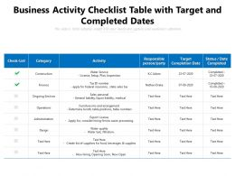 Business Activity Checklist Table With Target And Completed Dates