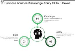 Business Acumen Knowledge Ability Skills 3 Boxes
