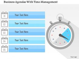 Business Agendas With Time Management Flat Powerpoint Design
