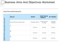 Business Aims And Objective Worksheet Powerpoint Images