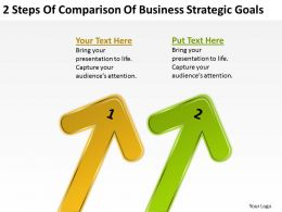 Business Analysis Diagrams 2 Steps Of Comparison Strategic Goals Powerpoint Templates