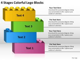 Business Analysis Diagrams 4 Stages Colorful Lego Blocks Powerpoint Templates