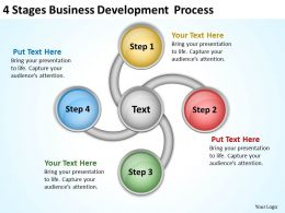 Business Analysis Diagrams 4 Stages Development Process Powerpoint Templates