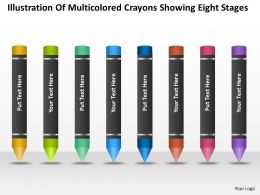 Business Analysis Diagrams Of Multicolored Crayons Showing Eight Stages Powerpoint Slides