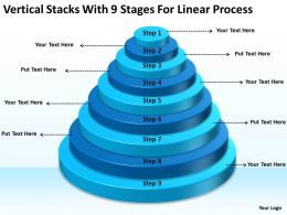 Business Analysis Diagrams Vertical Stacks With 9 Stages For Linear Process Powerpoint Slides
