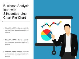 Business Analysis Icon With Silhouettes Line Chart Pie Chart