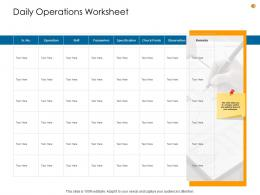 Business Analysis Methodology Daily Operations Worksheet Ppt Infographics Display