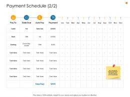 Business Analysis Methodology Payment Schedule Rent Ppt Summary Display