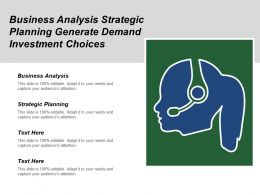 Business Analysis Strategic Planning Generate Demand Investment Choices