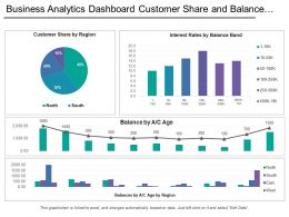 Business Analytics Dashboard Customer Share And Balance By Region