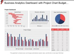 Business Analytics Dashboard With Project Chart Budget Resource Allocation And Pending Actions