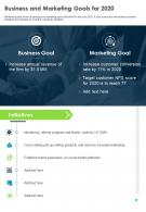 Business And Marketing Goals For 2020 Presentation Report Infographic PPT PDF Document