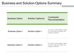 Business And Solution Options Summary Powerpoint Slide Show