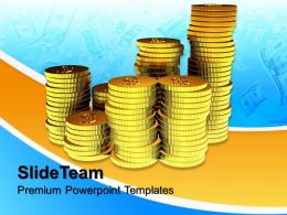 Business And Strategy Powerpoint Templates Golden Curency Money Success Ppt Designs