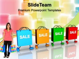 Business And Strategy Powerpoint Templates Shopping Bags With Tags Sales Ppt Slides