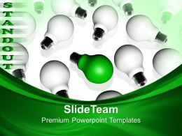 Business And Strategy Powerpoint Templates Standout Bulb Leadership Ppt Themes