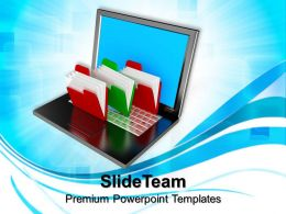 Business And Strategy Templates Folder Structure With Laptop Ppt Slides Powerpoint