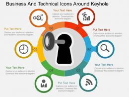 Business And Technical Icons Around Keyhole Flat Powerpoint Design