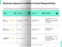 Business Approach To Ethics And Social Responsibility Arrows Ppt Powerpoint Presentation Icon Tips