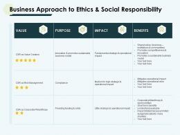 Business Approach To Ethics And Social Responsibility Value Ppt Slides