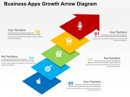 Business Apps Growth Arrow Diagram Flat Powerpoint Design