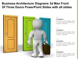 Business Architecture Diagrams 3d Man Front Of Three Doors Powerpoint Slides With All Slides