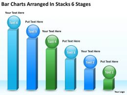 Business Architecture Diagrams Bar Charts Arranged Stacks 6 Stages Powerpoint Slides