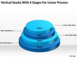 Business Architecture Diagrams Stacks With 4 Stages For Linear Process Powerpoint Templates