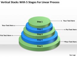 Business Architecture Diagrams Stacks With 5 Stages For Linear Process Powerpoint Templates