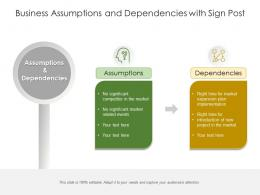 Business Assumptions And Dependencies With Sign Post