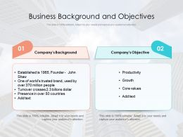 Business Background And Objectives
