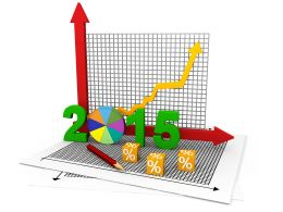 Business Bar Graph With 2015 Pie Chart Stock Photo