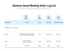 Business Board Meeting Action Log List