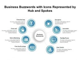 Business Buzzwords With Icons Represented By Hub And Spokes