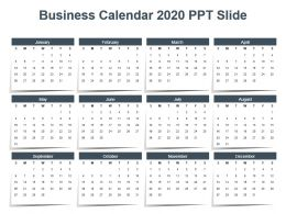 Business Calendar 2020 Ppt Slide