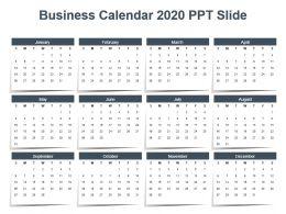 Business Calendar 2020 Ppt Slide
