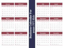Business Calendar For 2020 Ppt Slide