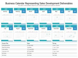 Business Calendar Representing Sales Development Deliverables