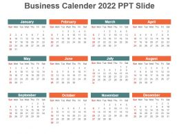 Business Calender 2022 Ppt Slide
